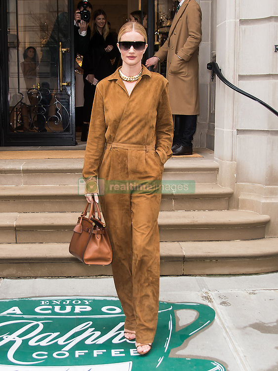 Celebrities are seen outside Ralph Lauren Spring/Summer 2019 fashion show during New York Fashion Week in New York. 07 Feb 2019 Pictured: Rosie Huntington-Whiteley. Photo credit: MEGA TheMegaAgency.com +1 888 505 6342