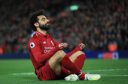 File photo dated 26-04-2019 of Liverpool's Mohamed Salah celebrates scoring his side's fifth goal of the game during the Premier League match at Anfield, Liverpool.