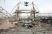 Oasis of the Seas at the shipyard in Turku, Finland where she is being built..Photos show Royal Caribbean's latest  ship 2 months before completion. .Aquatheater