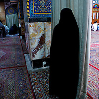 At the mosque in Yazd during prayer time.
