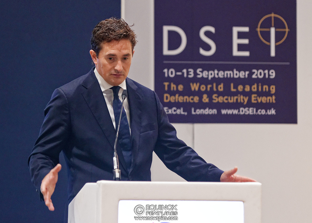 London, United Kingdom - 12 September 2019<br /> Johnny Mercer MP, Parliamentary Under-Secretary of State for Defence People and Veterans for the UK Government gives a keynote address speech and answers questions from the audience at DSEI 2019 security, defence and arms fair at ExCeL London exhibition centre.<br /> (photo by: EQUINOXFEATURES.COM)<br /> Picture Data:<br /> Photographer: Equinox Features<br /> Copyright: ©2019 Equinox Licensing Ltd. +443700 780000<br /> Contact: Equinox Features<br /> Date Taken: 20190912<br /> Time Taken: 10172700<br /> www.newspics.com