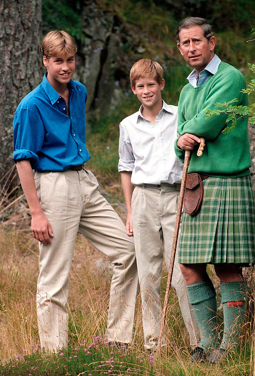 Prince Charles, Prince of Wales seen with his sons Prince William and Prince Harry on holiday on the Queen's Scottish estate of Balmoral in August 1997.They are seen near the Glenn of Muick Falls. Photograhed by Jayne Fincher