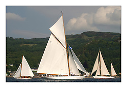 Clio, Moonbeam and Belle Adventure sailing before the start of the final race off Tighnabruich...This the largest gathering of classic yachts designed by William Fife returned to their birth place on the Clyde to participate in the 2nd Fife Regatta. 22 Yachts from around the world participated in the event which honoured the skills of Yacht Designer Wm Fife, and his yard in Fairlie, Scotland...FAO Picture Desk..Marc Turner / PFM Pictures