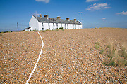 Line of white shells leading to Coastguard Cottages, Suffolk, England