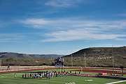 The Iraan High School football team practices before their state championship game in Iraan, Texas on December 13, 2016. (Cooper Neill for The New York Times)