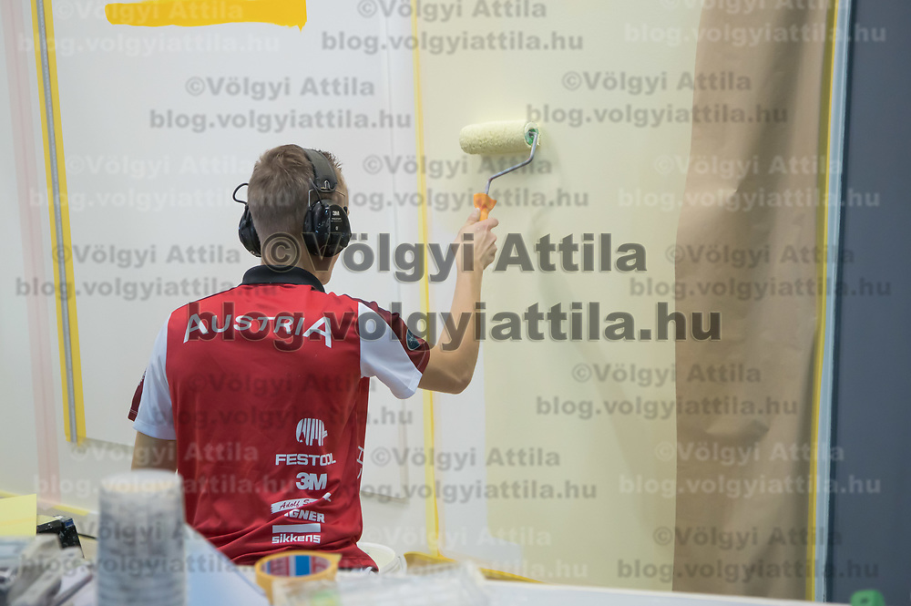 Participant competes in painting during the EuroSkills European Championship of young professionals in Budapest, Hungary on Sept. 26, 2018. ATTILA VOLGYI