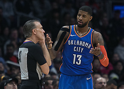 March 8, 2019 - Los Angeles, California, United States of America - Paul George #13 of the Oklahoma Thunder  questions a call during their NBA game with the Los Angeles Clippers on Friday March 8, 2019 at the Staples Center in Los Angeles, California. Clippers defeat Thunder, 118-110.  JAVIER ROJAS/PI (Credit Image: © Prensa Internacional via ZUMA Wire)