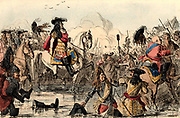 William III (1650-1702) King of Great Britain from 1689. The Protestant William at the Battle of the Boyne, Ireland (1690) where he defeated supporters of the deposed Roman Catholic James II. Illustration by John Leech (1817-1874) Hand-coloured wood engraving