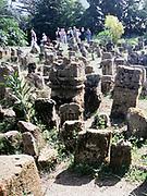 Swan Hellenic tour group visiting Roman gravestones at Carthage, Tunis, Tunisia in 1998