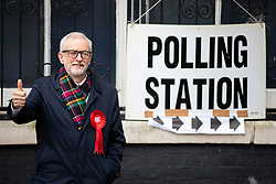 © Licensed to London News Pictures. 12/12/2019. London, UK. Labour Party Leader Jeremy Corbyn leaves Pakeman Primary School in North London after casting his vote in the 2019 General Election. Photo credit: Rob Pinney/LNP