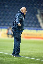 Morton's manager Jim Duffy. Falkirk 0 v 1 Morton, Scottish Championship game played 18/3/2017 at The Falkirk Stadium.