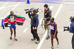 ING New York CIty Marathon: Wesley Korir greets champion Geoffrey Mutai