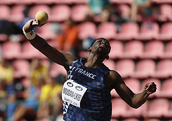 July 10, 2018 - Tampere, Suomi Finland - 180710 Friidrott, Junior-VM, Dag 1: Fred Moudani-Likibi FRA competes in Shot Put during the IAAF World U20 Championships day 1 at the Ratina stadion 10. July 2018 in Tampere, Finland. (Newspix24/Kalle Parkkinen) (Credit Image: © Kalle Parkkinen/Bildbyran via ZUMA Press)
