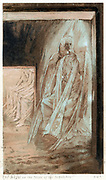 Angel of the Lord on the stone of the sepulchre. 'His countenance was like lightning and his raiment white as snow'. Illustration by JJ Tissot for his 'Life of Our Saviour Jesus Christ' 1897. Oleograph.