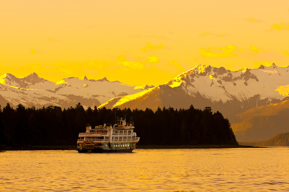 """National Geographic small cruise ship """"Sea Bird"""" sailing near Petersburg, with the Boundary Ranges in background, southeast Alaska USA"""