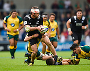 New Zealand flanker Mitchell Jacobson off-loads the ball in the tackle during the World Rugby U20 Championship 5rd Place play-off  match Australia U20 -V- New Zealand U20 at The AJ Bell Stadium, Salford, Greater Manchester, England on Saturday, June  25  2016.(Steve Flynn/Image of Sport)
