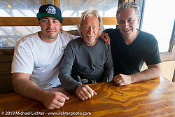 Zach, Arlen and Cory Ness at High Tides restaurant in Flagler Beach north of Daytona during the Daytona Bike Week 75th Anniversary event. FL, USA. Monday March 7, 2016.  Photography ©2016 Michael Lichter.