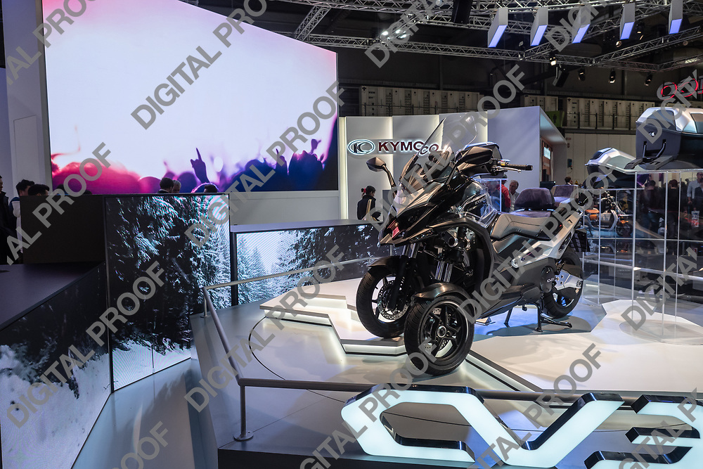 RHO Fieramilano, Milan Italy - November 07, 2019 EICMA Expo. Kymco exhibit their model CV3 modular motorcycle at EICMA 2019