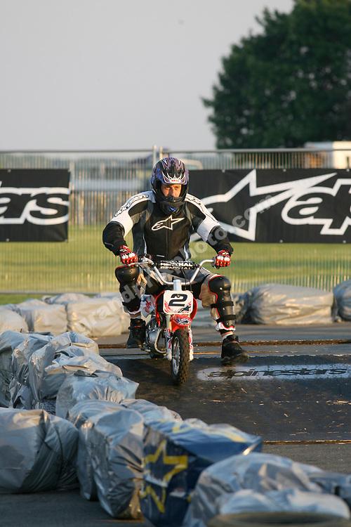 Peter Nygaard in the Alpinestars moto bike race prior to the 2006 British Grand Prix at Silverstone. Photo:Grand Prix Photo