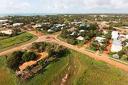 Aerial view over the township of Broome in Western Australia, looking towards Roebuck Bay.