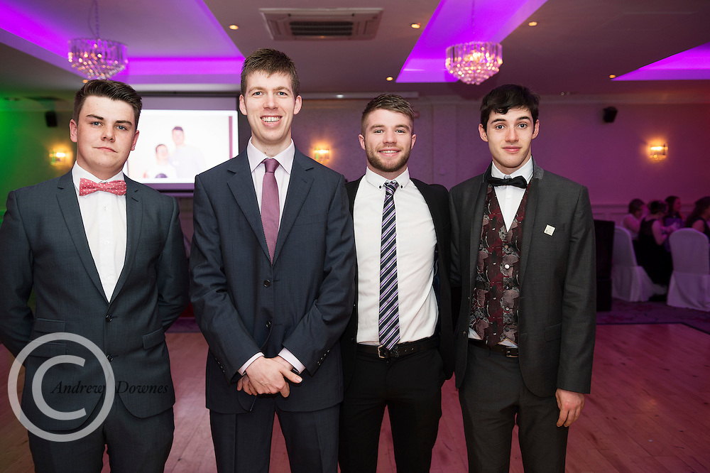 The Ability West Best Buddies Ball at the Menlo Park Hotel, Galway. Students from GMIT and NUIG buddy up with Ability West Service users for friendships that last a lifetime celebrated at this gala ball.<br /> Enjoying the night were Raymond Heneghan NUIG, Gary Cunningham, Josh Foley NUIG and Liam Hynes<br />  Photo:Andrew Downes, xposure.