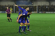 AFC Wimbledon midfielder Jake Reeves (8) and AFC Wimbledon midfielder Chris Whelpdale (11) during the The Emirates FA Cup 1st Round Replay match between AFC Wimbledon and Bury at the Cherry Red Records Stadium, Kingston, England on 15 November 2016. Photo by Stuart Butcher.