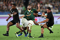 Rugby Union - 2019 Rugby World Cup - Pool B: New Zealand vs. South Africa<br /> <br /> Anton Lienert-Brown of New Zealand and Lukhanyo Am of South Africa at the International Stadium Yokohama, Yokohama City.<br /> <br /> COLORSPORT/LYNNE CAMERON