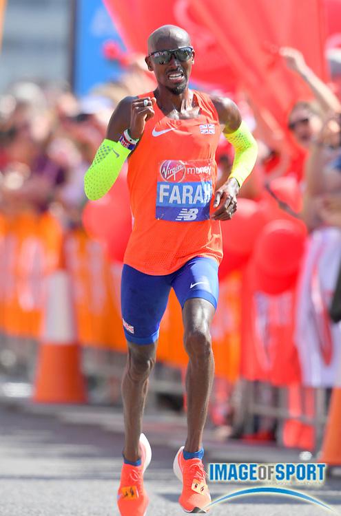 Mo Farah aka Mohamed Farah (GBR) places third in 2:06:21 in the London Marathon in London, Sunday, April 22, 2018. (Jiro Mochizuki/Image of Sport)