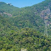 Cable car station, cabs and rope on Langkawi mount Gunung Machinchang, Langkawi, Malaysia