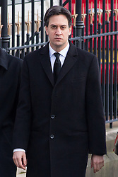 © Licensed to London News Pictures . 16/01/2014 . Salford , UK . ED MILIBAND MP , the leader of the Labour Party and MP for Doncaster North , arrives for the funeral . The funeral of Labour MP Paul Goggins at Salford Cathedral today (Thursday 16th January 2014) . The MP for Wythenshawe and Sale East died aged 60 on 7th January 2014 after collapsing whilst out running on 30th December 2013 . Photo credit : Joel Goodman/LNP