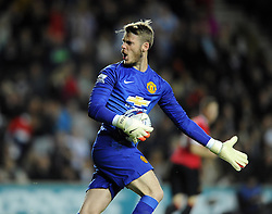 Manchester United's David De Gea cuts a frustrated figure - Photo mandatory by-line: Joe Meredith/JMP - Mobile: 07966 386802 26/08/2014 - SPORT - FOOTBALL - Milton Keynes - Stadium MK - Milton Keynes Dons v Manchester United - Capital One Cup