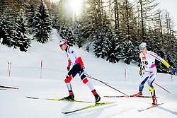February 2, 2018 - Goms, SWITZERLAND - 180202 Eirik Sverdrup Augdal of Norway and Anton Persson of Sweden compete in the men's 15/15 km skiathlon during the FIS U23 Cross-Country World Ski Championships on February 2, 2018 in Obergoms..Photo: Vegard Wivestad GrÂ¿tt / BILDBYRN / kod VG / 170096 (Credit Image: © Vegard Wivestad Gr¯Tt/Bildbyran via ZUMA Press)