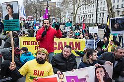 London, UK. 19th January, 2019. Members of the Kurdish community stage a sitdown protest outside Downing Street in support of jailed Kurdish politician Leyla Güven and her fellow hunger striking prisoners Esat Naci Yıldırım and Kadir Karabak.