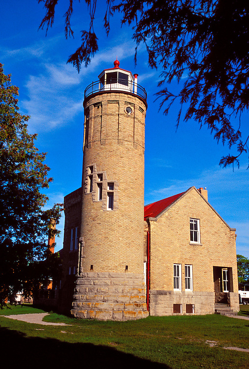 OLD MACKINAC POINT LIGHTHOUSE IN MACKINAW CITY MICHIGAN.