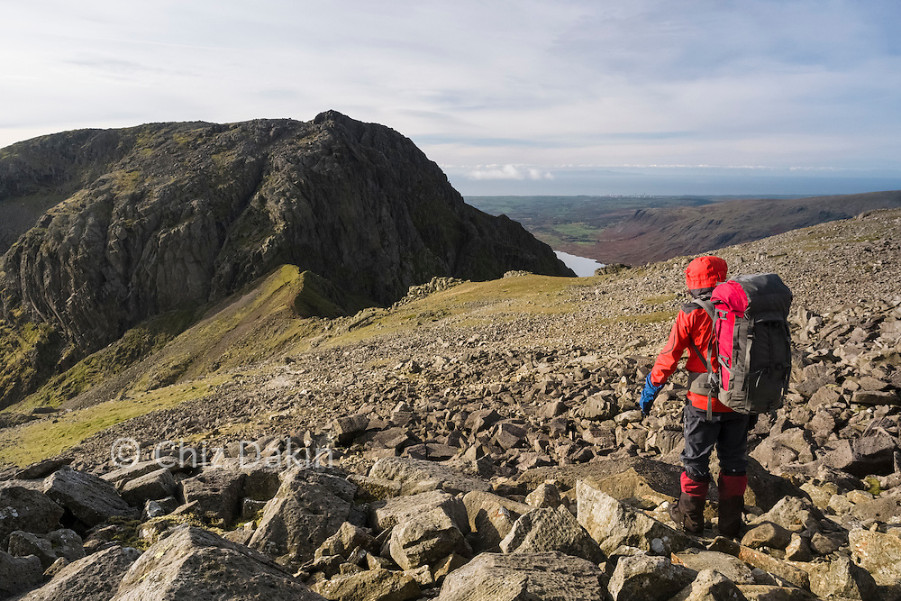 Sca Fell's Broad Stand face looking impressive from Scafell Pike