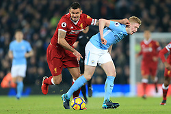 14 January 2018 - Premier League Football - Liverpool v Manchester City - Dejan Lovren of Liverpool and Kevin De Bruyne of Man City battle for the ball - Photo: Simon Stacpoole / Offside