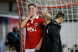 Matt Smith of Bristol City regathers himself after colliding with the post - Photo mandatory by-line: Rogan Thomson/JMP - 07966 386802 - 29/01/2015 - SPORT - FOOTBALL - Bristol, England - Ashton Gate Stadium - Bristol City v Gillingham - Johnstone's Paint Trophy Southern Area Final Second Leg.