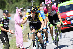 July 19, 2018 - Alpe D Huez, France - ALPE D'HUEZ, FRANCE - JULY 19 : KRUIJSWIJK Steven (NED) of Team Lotto NL - Jumbo, VALVERDE Alejandro (ESP) of Movistar Team, ROLLAND Pierre (FRA) of Team EF Education First - Drapac p/b Cannondale  during stage 12 of the 105th edition of the 2018 Tour de France cycling race, a stage of 175.5 kms between Bourg-Saint-Maurice Les Arcs and Alpe D'huez on July 19, 2018 in Alpe D'huez, France, 19/07/2018 (Credit Image: © Panoramic via ZUMA Press)