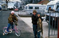 Traveller children on official site Harrogate Yorkshire UK 1994