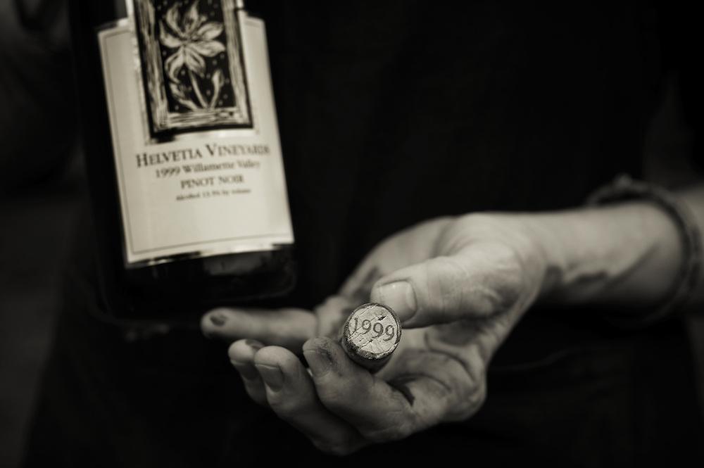 Cork and wine bottle of the Helvetia Vineyard 1999 Pinot Noir