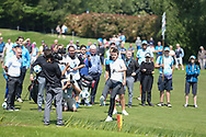 Michael Carrick kicks a football to the 18th green during the Celebrity Pro-Am day at Wentworth Club, Virginia Water, United Kingdom on 23 May 2018. Picture by Phil Duncan.