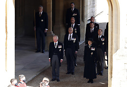 The Prince of Wales, the Duke of York, the Duke of Cambridge, Peter Phillips, the Princess Royal, and the Earl of Wessex arrive at the quadrangle ahead of the funeral of the Duke of Edinburgh in Windsor Castle, Berkshire. Picture date: Saturday April 17, 2021.