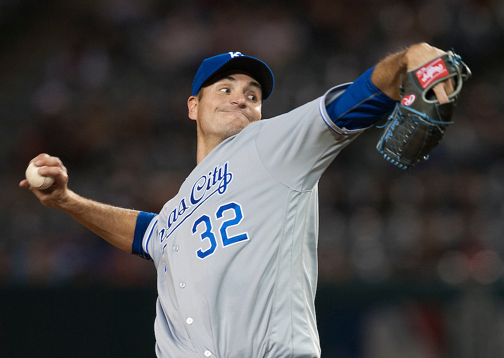 Kansas City Royals starter Chris Young pitches against the Angels Wednesday night at Angel Stadium.<br /> <br /> ///ADDITIONAL INFO:   <br /> <br /> angels.0428.kjs  ---  Photo by KEVIN SULLIVAN / Orange County Register  --  4/27/16<br /> <br /> The Los Angeles Angels take on the Kansas City Royals Wednesday at Angel Stadium.<br /> <br /> <br />  4/27/16