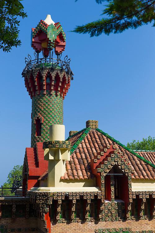 Belvedere Tower tourist attraction El Capricho de Gaudi (The Caprice Villa Quijano) at Comillas in Cantabria, Northern Spain