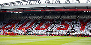 Liverpool fans hold up a mosaic saying Bugsy in memory of Ronnie Moran former Liverpool coach who died earlier this week during the English Premier League match at Anfield Stadium, Liverpool. Picture date: April 1st 2017. Pic credit should read: Simon Bellis/Sportimage