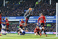 West Bromwich Albion Goalkeeper Ben Foster makes a save at full stretch. Barclays Premier League match, Everton v West Bromwich Albion at Goodison Park in Liverpool on Saturday 13th February 2016.<br /> pic by Chris Stading, Andrew Orchard sports photography.