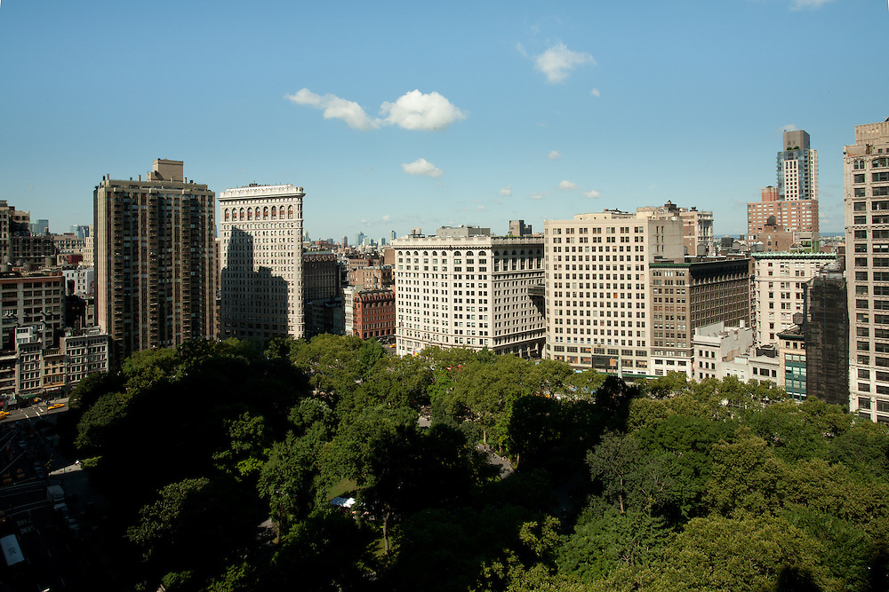 Madison Square Park and the Flatiron Building (second tall building from the left) from the New York Life building.