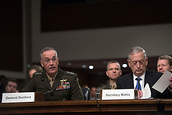 June 13, 2017 - Chairman of the Joint Chiefs of Staff Gen. Joseph Dunford, left, and Secretary of Defense James Mattis testify at a U.S. Senate Armed Services Committee hearing about military budget in Washington, Tuesday, June 13, 2017. Sait Serkan GurbuzDepo Photos (Credit Image: © Depo Photos via ZUMA Wire)