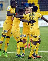 Fotball<br /> Norge<br /> 27.10.2013<br /> Adeccoligaen<br /> Bodø/Glimt v Kongsvinger 8:0<br /> Foto: Kent Grundstad, Digitalsport<br /> <br /> Christian Berg (18) feirer scoring for BG med Vieux Yakhya Sane (23) - Papa Alioune Ndiaye (7) og Antwi Godwin (15)