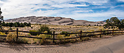 Piñon Flats Campground has a good view of the dunes which rise up to 750 feet tall in Great Sand Dunes National Park and Preserve, on the eastern edge of San Luis Valley, Sangre de Cristo Range, south-central Colorado, USA. This image was stitched from multiple overlapping photos.